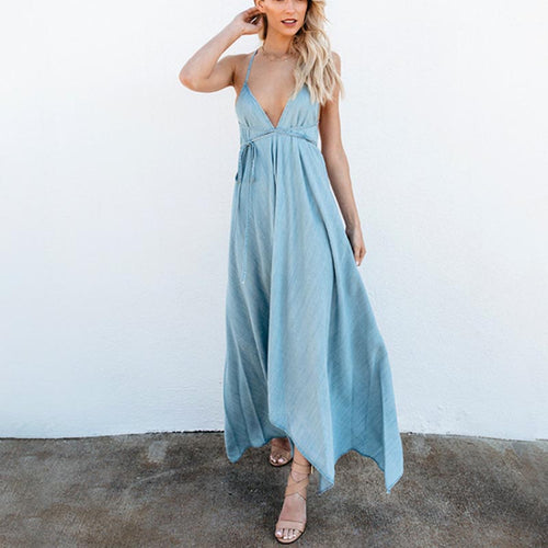 Sexy Fashion Solid Color V-Neck Sleeveless Sling Dress