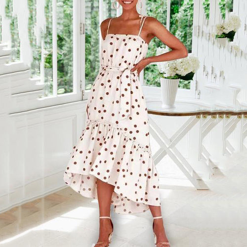 Sexy Boat Neck Polka Dot Belted Splicing Dress