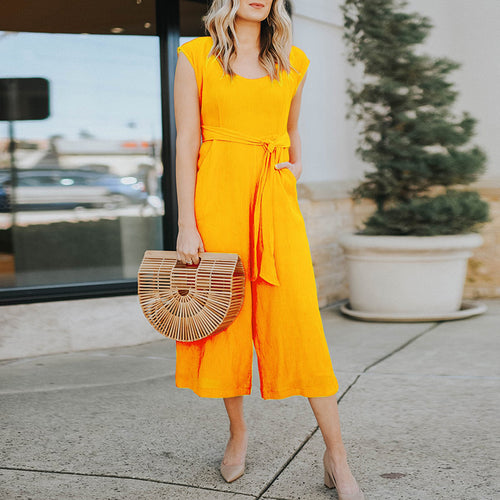 Casual Round Neck Belted Short Sleeve Pure Colour Jumpsuit