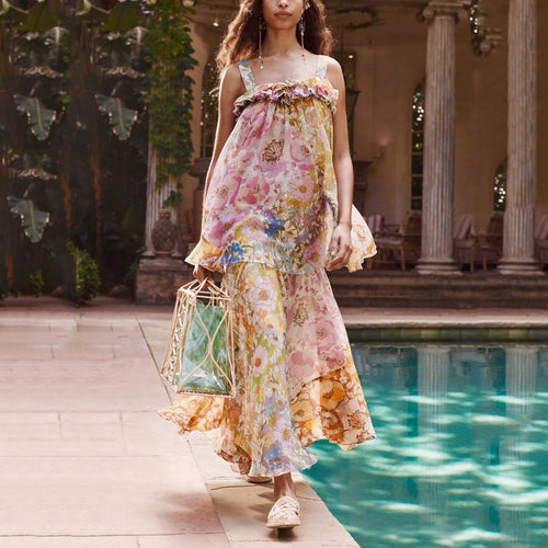 Bohemian Sleeveless Floral Pattern Chiffon Loose Evening Dress