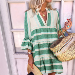 Women's Sweet Deep V Neck Stripe Petal Sleeve Loose Dress