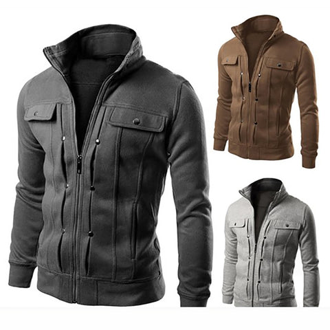 Fashion Double-Breasted Pocket Design Zipper Jacket