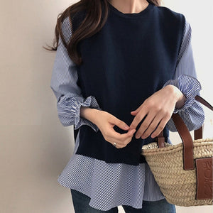 Fashion Casual Plain Round Neck Sweater Vest