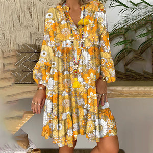 Beach Casual Floral Pattern Long Sleeve Loose Dress