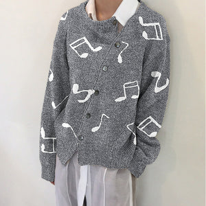 Musical Autumn And Winter Irregular Button Sweater
