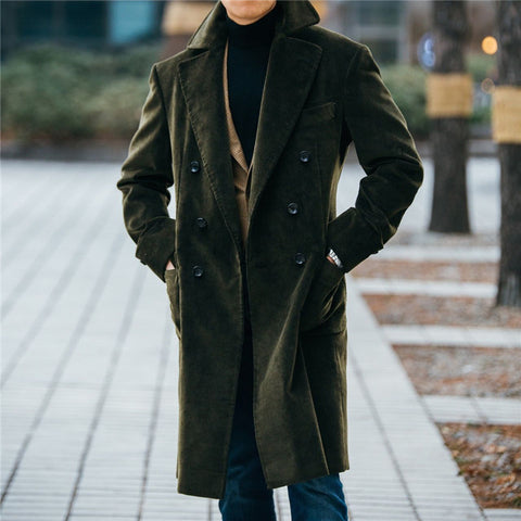 Men's Corduroy Lapel Solid Color Trench Coat