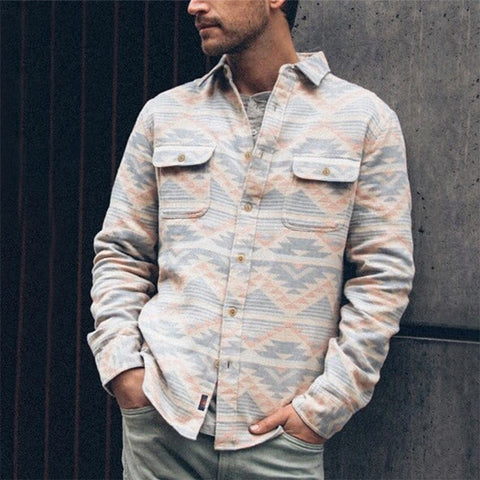 Fashion Men's Printed Colour Patch Pocket Jacket