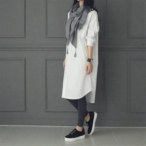 Fashion Casual Pure Color Long Shirt