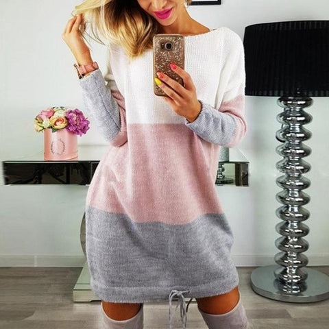 Fashiona And Loose Match Color Long Sleeve Sweater Dress