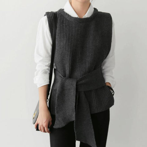 Casual Simple Waistband Knitted Sweater