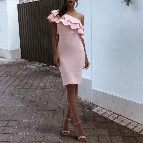 Sexy Pink One Shoulder Bodycon Dress