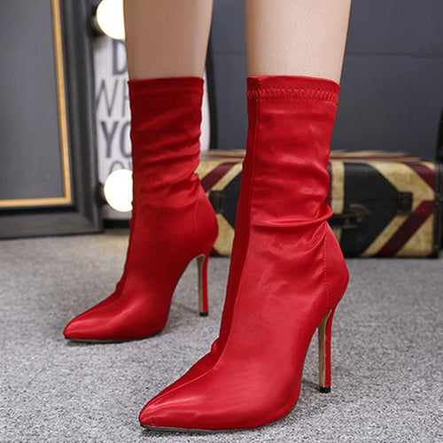 Women's Autumn And Winter Satin High Boots