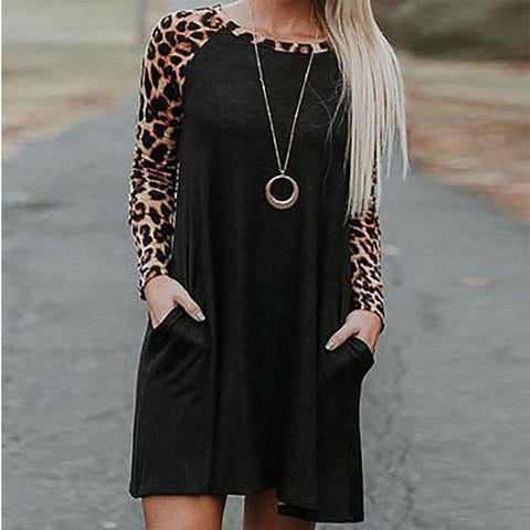 Scoop Neck  Cutout Patch Pocket Patchwork  Curved Hem  Leopard Shift Dresses