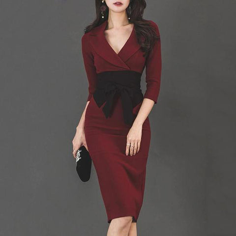 Notch Lapel  Bowknot  Colouring Bodycon Dress