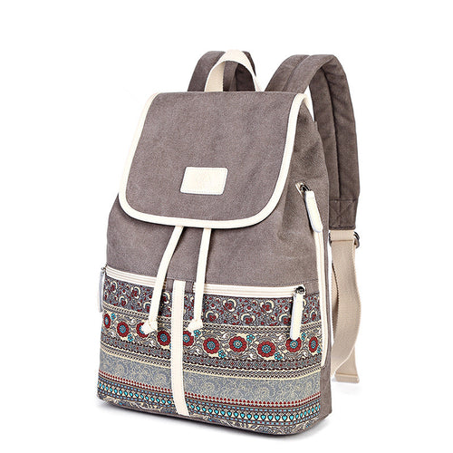 Women Ethnic Style Simple Canvas Backpack