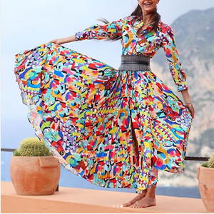 Casual Long Sleeve Chiffon Floral Print Maxi Dresses