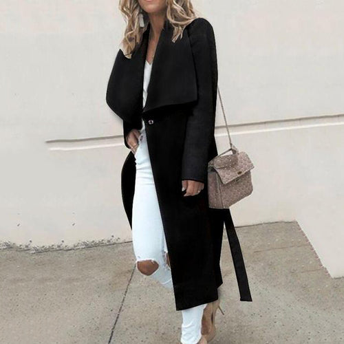Loose Long Sleeve Wool Coat