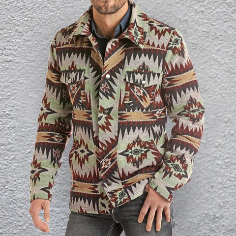 Men's Casual Button Print Jacket