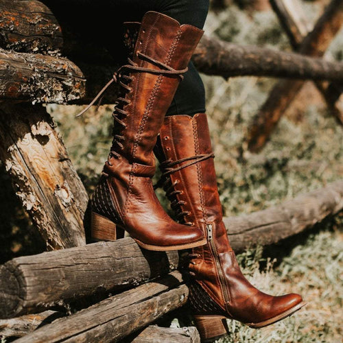 Vintage women's high lace-up boots