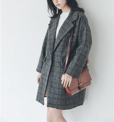 Casual Plaid Lattice   Loose Medium Style Woolen Coat