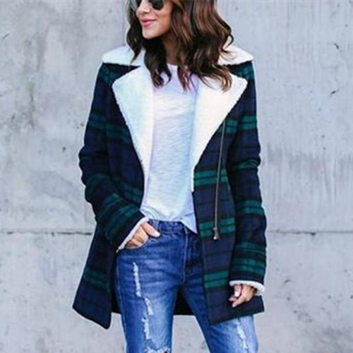 Fashion Casual Classic Plaid Jacket Coat With Thick Fleece Jacket