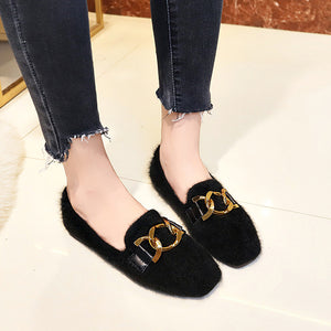 Metal Decoration Retro Suede Flat And Round Head Shallow Fur Shoes