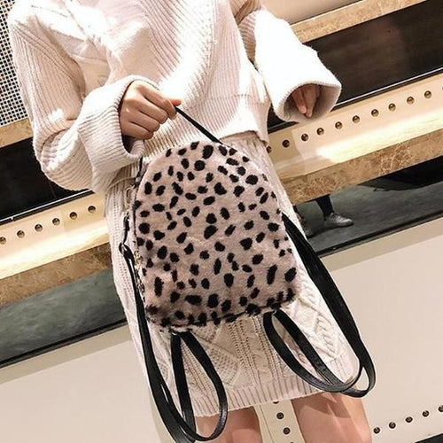 Leopard-Print Plush Bulky Backpack
