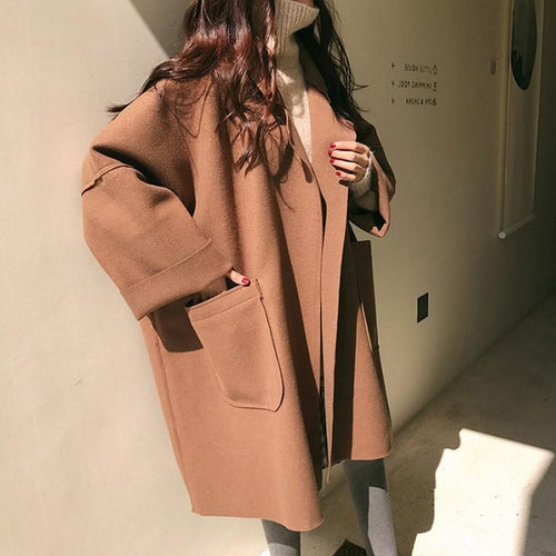 Casual Pure Color   woolen Medium style Oversize coat