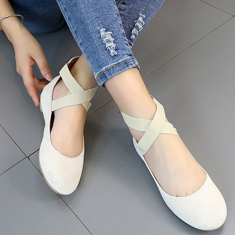 Women Pu Nubuck Flats Casual Ballerina Shoes