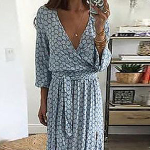 Women Sexy V-Neck Split Plain Maxi Dresses
