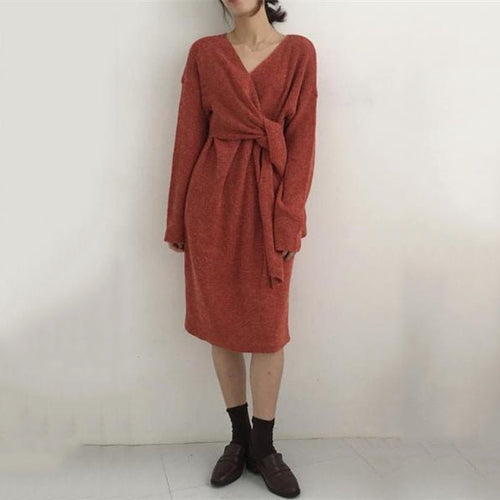 Fashion V Neck Pure Colour Belted Knitted Dress