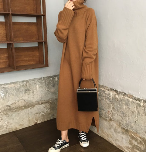Casual High Collar Long Knitted Maxi Dress