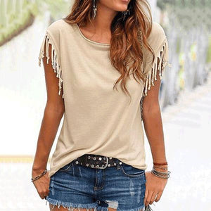Round Neck  Patchwork Plain Short Sleeve T-Shirts