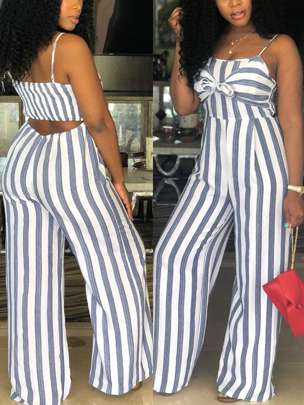443a204ff716a Hollow Out Striped Sleeveless Jumpsuit(Plus Size) – VeryGal