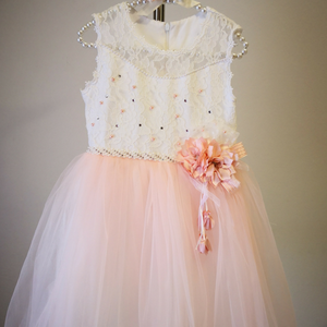 Peach and White Subira Dress