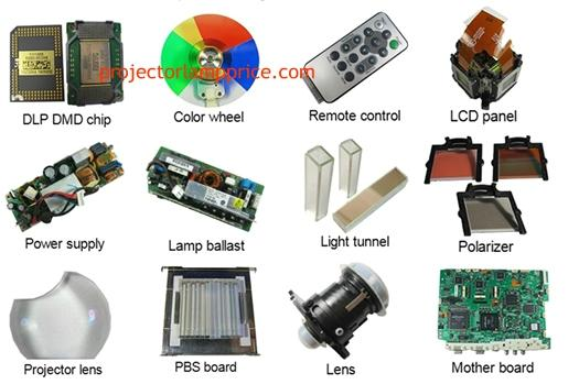Projector Spare Parts India Uttarakhand Dehradun- Lamp with housing, Original bare lamp, Compatible bare lamp, DLP DMD chip, Power Supply, Projector lens, Colour Wheel, Remote control, LCD panel, light tunnel, Lamp Ballast, Lens, Polarizer, Motherboard