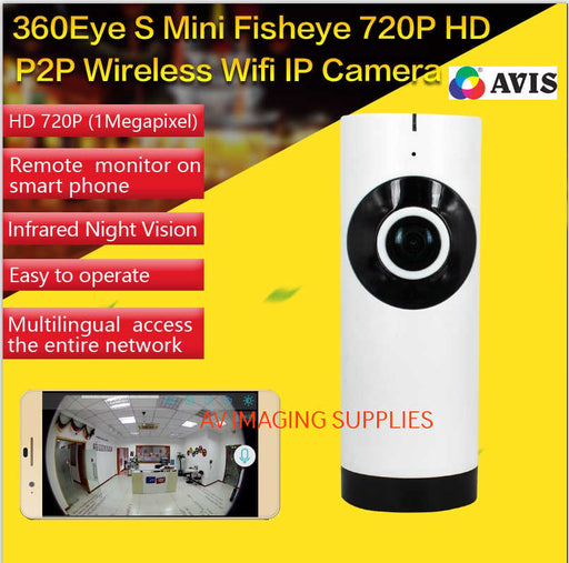 CCTV Wireless WiFi IP HD Fisheye, In-built 128GB, 2-Way Audio - projector-lamp-india