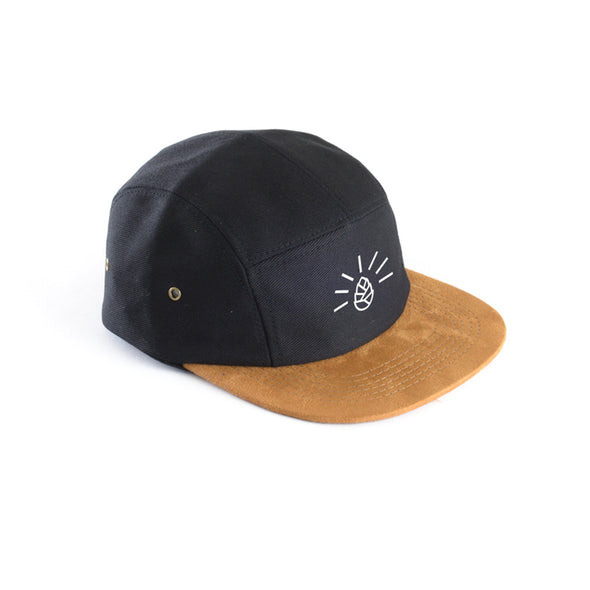 Black/Suede 5 Panel Hat