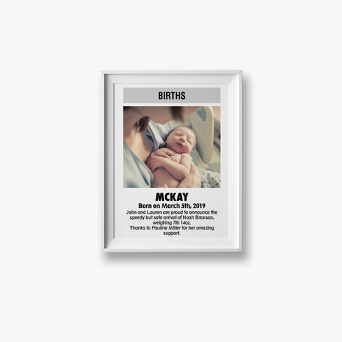 Custom ODT Classified Print - Birth Announcement