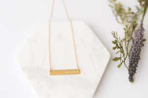 """Mama"" Gold Bar Necklace"