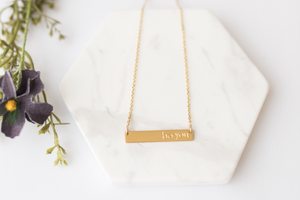 """Be You"" Gold Bar Necklace"