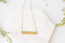 "Load image into Gallery viewer, ""Simplify"" Gold Bar Necklace"