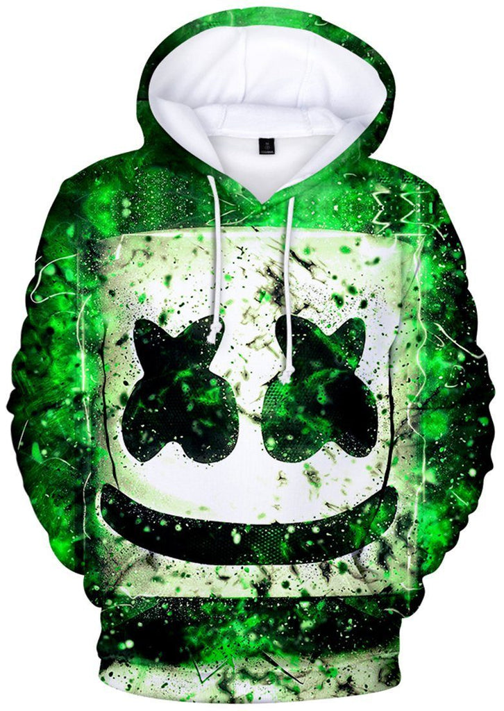 89304dc4bd5ee Marshmello face Hoodies Unisex Casual Sweatshirt Sportswear Hooded Pullover  Green