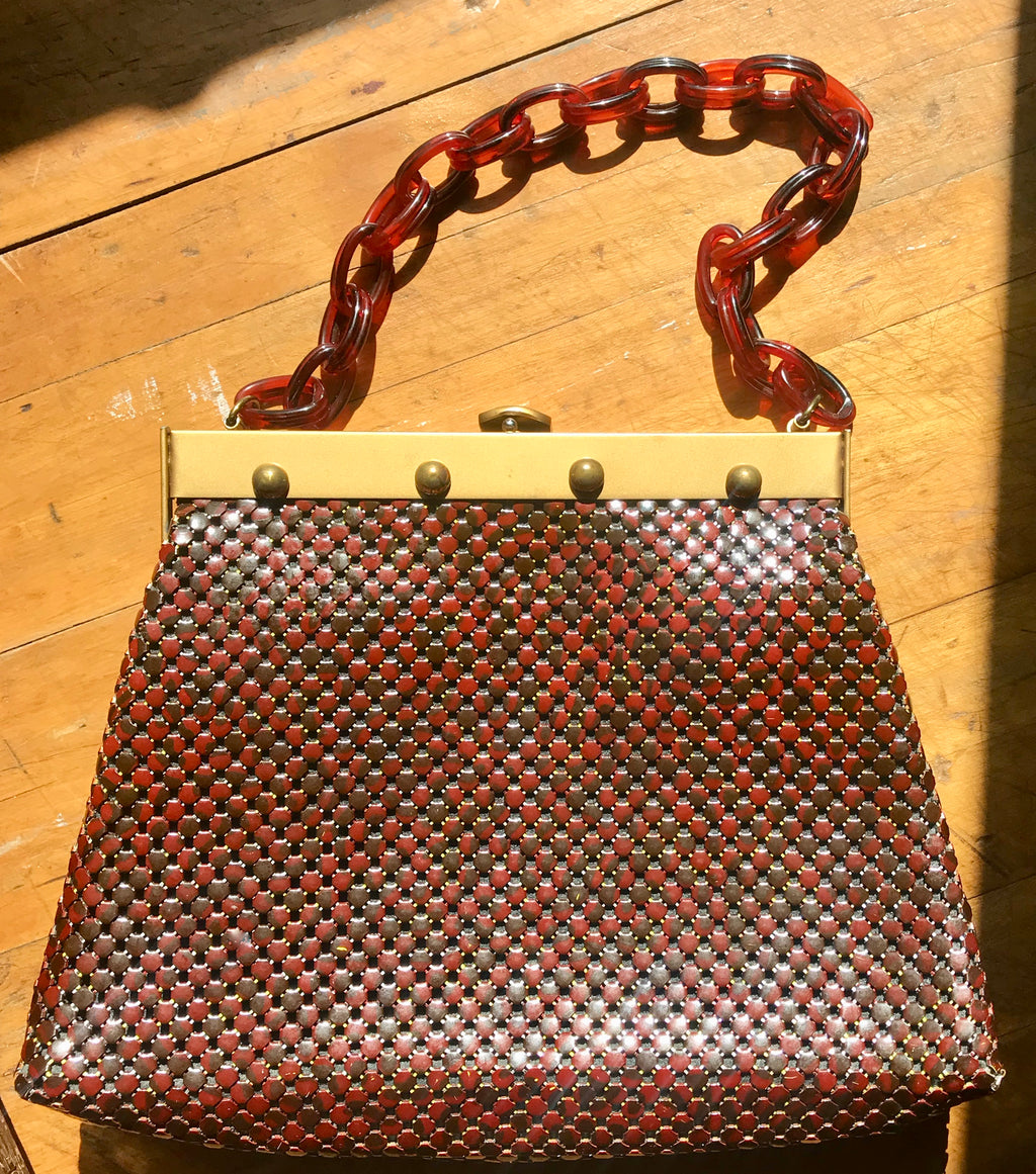 Whiting & Davis Oxblood Mesh Handbag with Bakelite Chain Handle