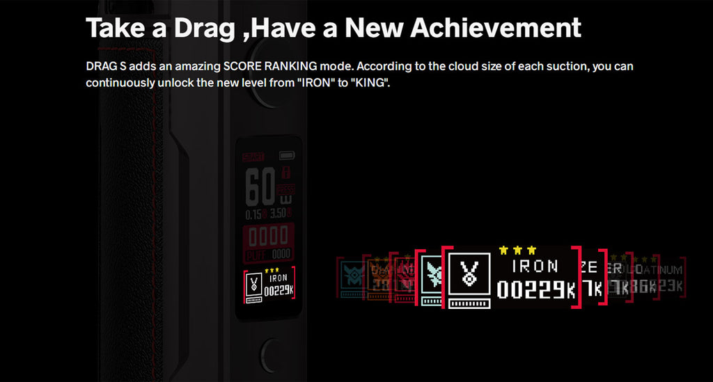 Voopoo Drag S 60W Mod Pod Kit 2500mAh 4.5ml - Specs