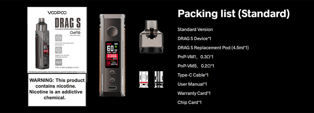 Voopoo Drag S 60W Mod Pod Kit 2500mAh 4.5ml - What you get in the Drag S from Voopoo