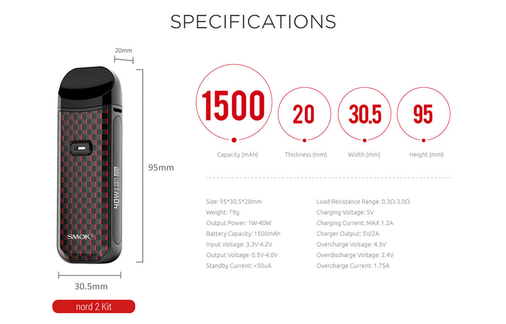 Smok Nord 2 Pod System Kit 1500mAh 4.5ml - Specs of the Nord 2 Kit