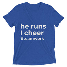 """he runs, I cheer"" t-shirt (Multiple Colors)"