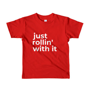 """just rollin' with it"" kids t-shirt"
