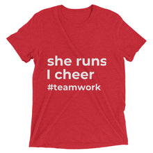 """she runs, I cheer"" t-shirt (Multiple Colors)"